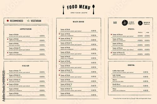 Fototapeta Restaurant Menu Design Template layout with logo obraz