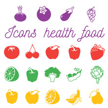 Set Of Flat Icons With Fruits And Vegetables