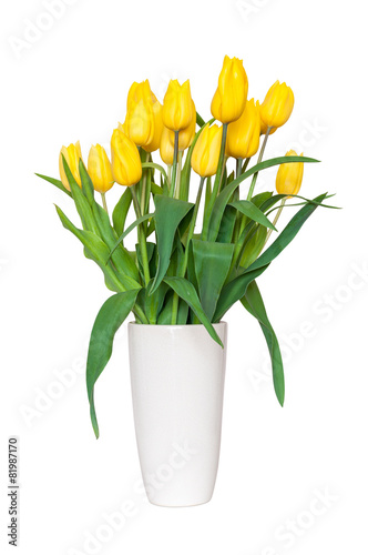 Poster Tulp Bouquet of yellow tulips in a vase