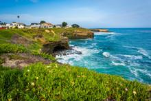 View Of Cliffs Along The Pacific Ocean, In Santa Cruz, Californi