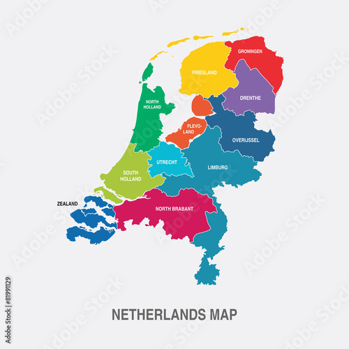 NETHERLANDS MAP colored regions flat design illustration vector Wallpaper Mural