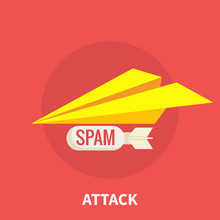 Spam Attack, Yellow Paper Plane With A Bomb