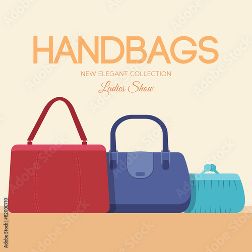 1168921ef02 fashion handbags and bags in flat illustration concept icons set ...