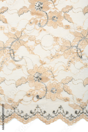 Fotobehang Stof beige lace with flowers