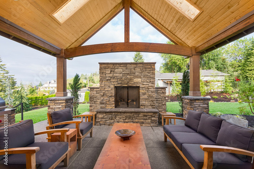 Photo Beautiful Covered Patio Outside New Luxury Home