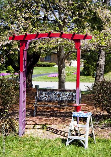 Painting Trellis In Garden
