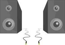 Two Vector Black Speakers Standing Beside Each Other With Cable
