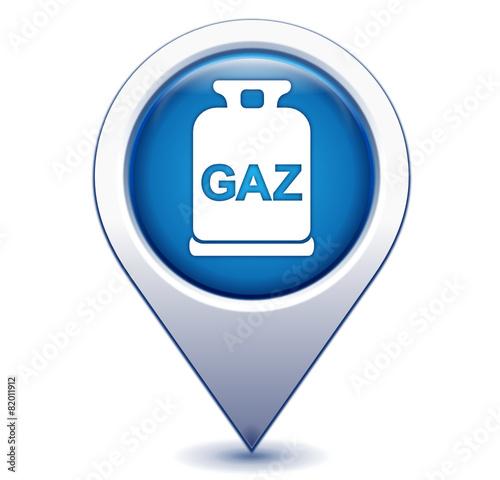 Fotografiet  bouteille de gaz sur marqueur géolocalisation bleu