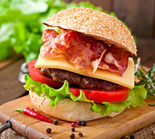 Big Sandwich - Hamburger Burger With Beef, Cheese, Tomato, Bacon