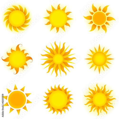 Fotografie, Obraz  Vector Suns Set