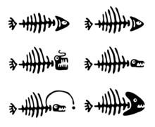 Set Of Fish Bones, Vector Illu...