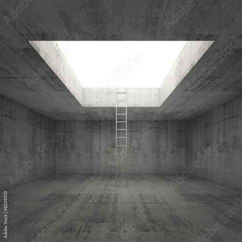 Fotografie, Tablou  Ladder goes to the light out from dark concrete interior