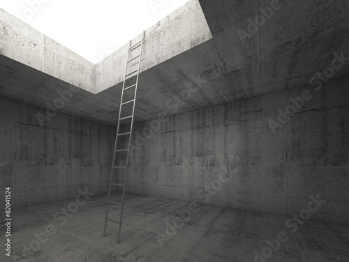 Fotografie, Tablou  Metal ladder goes to the light out from the concrete interior