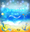 summer beach and bright sea
