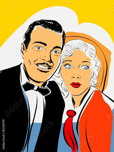Caricature Homme portrait couple homme et femme des années 30,caricature, comics