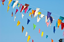 Colorful Bunting Flags On Blue...