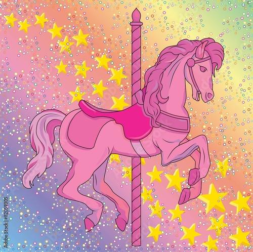 Foto op Canvas Pony Rainbow Carousel