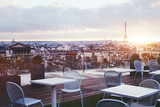 Fototapeta Fototapety Paryż - sunny terrace of restaurant in Paris with panoramic view on Eiffel tower, France
