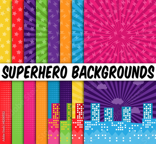 Collection of 16 Vector Superhero Themed Backgrounds Canvas Print
