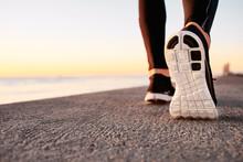 Runner Man Feet Running On Road Closeup On Shoe.