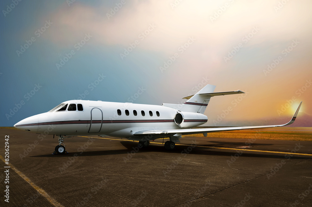 Fototapety, obrazy: Private jet airplane parking at the airport.