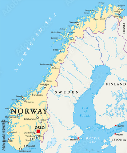 Norway Political Map Tablou Canvas