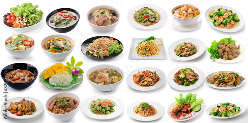 Satz thailändisches Lebensmittel auf weißem Hintergrund Fototapete