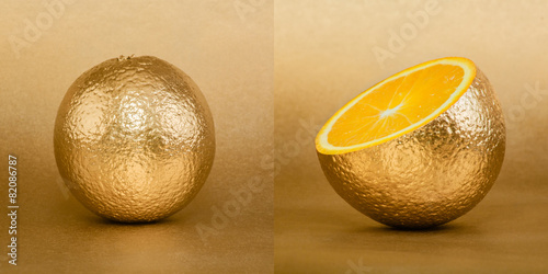 Fotografía  Whole and opened orange with golden peel on gold background