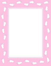 Baby Girl Footprints Frame