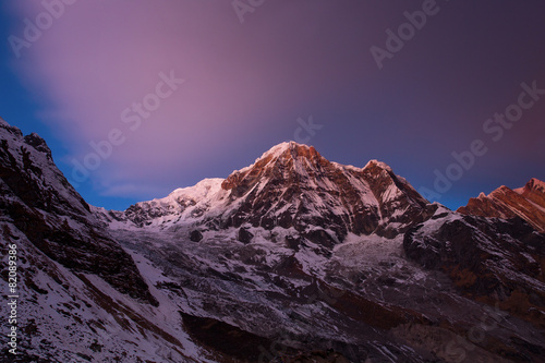 Spoed Foto op Canvas Violet View of Annapurna I from Annapurna Base Camp Himalaya Mountains