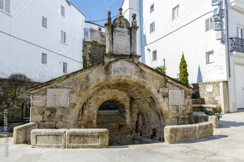 Old antique fountain in Mondonedo Spain