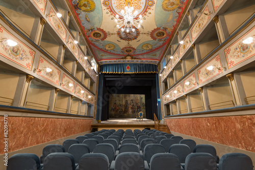 Old Theater inside view. Ripatransone, Marche region, Italy. Poster