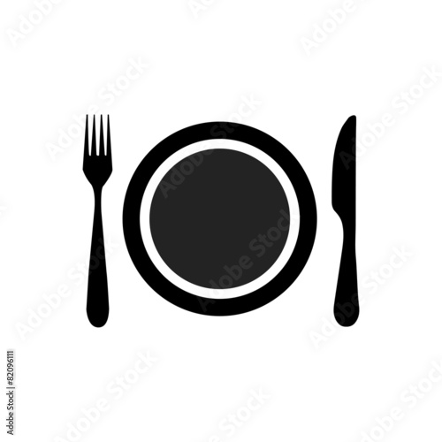 Fotografie, Obraz  Dish, fork and knife