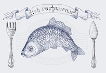 Fish Restaurant Banner With Carp