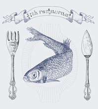 Fish Restaurant Banner With He...