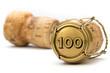 Leinwanddruck Bild - Champagnerkorken Jubiläum 100 Jahre