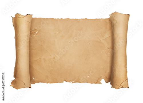 Vintage blank paper scroll isolated on white background