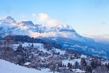 Amazing Beautiful Panoramic View Of Combloux Village At Sunset In French Alps