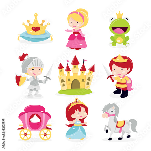 Fotografie, Obraz  Princesses Prince Knight Icons