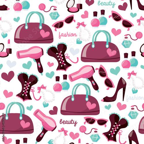 Cotton fabric Girly Fashion Beauty Seamless Pattern Background