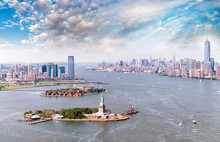 Aerial View Of Statue Of Liberty - Manhattan And Jersey City