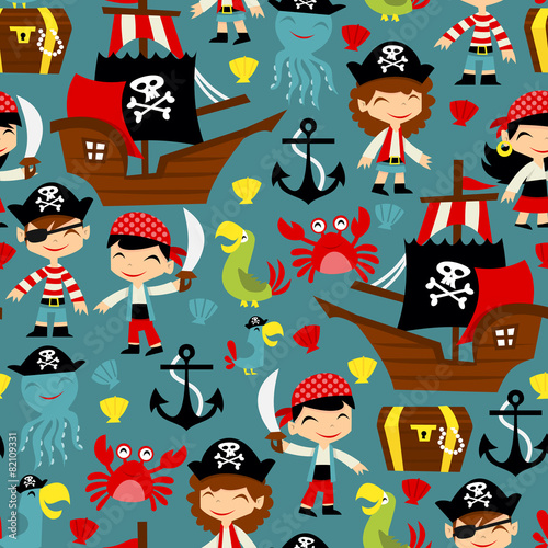 Cotton fabric Retro Pirate Adventure Seamless Pattern Background