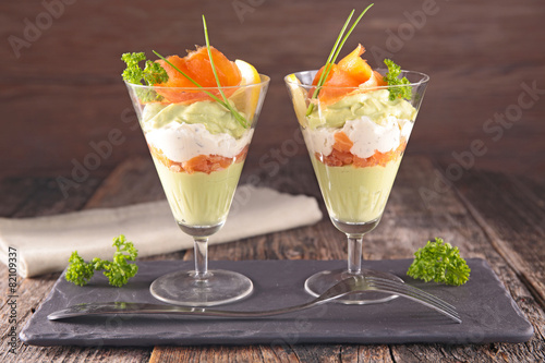 Recess Fitting Appetizer salmon, avocado and cheese cream
