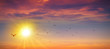 canvas print picture - Panoramic wild sunset