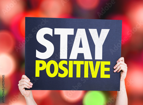 Photo Stay Positive card with bokeh background
