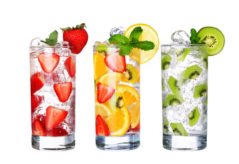 Fototapeta Koktajle Glass Of Cold fruit Drinks collection isolated on white backgro