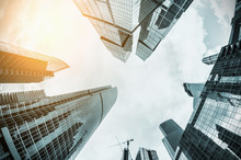 Futuristic Landscape Of Silhouettes Of Skyscrapers In The City