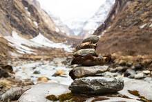 Zen Rock Arrangement Along Trail To Mountains Of Nepal