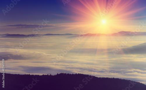 Foto op Aluminium Zalm Beautiful foggy landscape in the mountains. Sunrise.