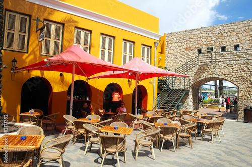 Foto auf AluDibond Gezeichnet Straßenkaffee Curacao